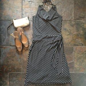 Arden B Black + White Halter Dress